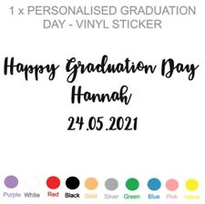 PERSONALISED GRADUATION DAY - VINYL STICKER - GREAT FOR BALLOONS / CRATES / BOX