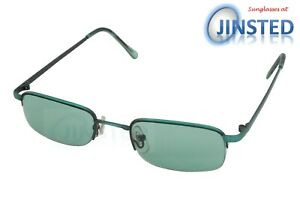 High Quality Small Sunglasses Semi Rimless Unisex Green Lens and Frame CL039