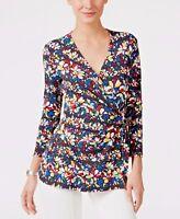 Anne Klein XS New Vibrant Floral  Black Faux Wrap Stretch Top Blouse $69 NWT