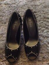Ladies Black Open Toe Shoe Size 6 NWOT