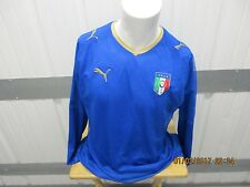 VINTAGE PUMA ITALY NATIONAL MEN'S TEAM XL LONG SLEEVE SEWN BLUE JERSEY 2008 KIT
