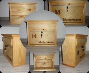 Briefkasten / Holzbriefkasten aus Fichtenholz, mit Wunschnamen & Hausnummer