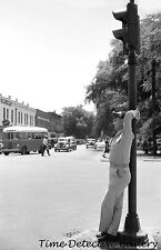 WWII Soldier Leaning on a Traffic Light, Columbus, GA -1941- Vintage Photo Print