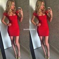 Women Bandage Bodycon Low-cut Cocktail Party Evening Club Pencil Mini Dress Red