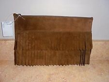 MADEWELL SUEDE FRINGE CLUTCH NWT #F5800  DARK BROWN