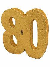 Gold Glitter 80th Birthday/Anniversary Celebration Centrepiece Table Decoration