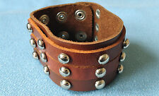 "TAN BROWN DOME STUD WRISTBAND LEATHER BRACELET BOYS MENS 1.50"" LB0210"