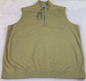 Ashworth Mens Sweater Vest Mock Neck 1/4 Zip Beige Size 2XL NWT