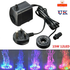 Electric Submersible Water Fountain Pump With 12LED Light Pond Garden Pool 15W