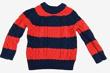 Baby Gap Boys CableKnit Sweater Red Blue Stripe Pullover Size 18 - 24 Months New