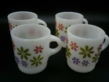 Vintage Fire King Set of 4 Mugs Floral Flowers power Stackable