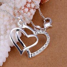 Halskette Kette Silber mit Stein Kristall Damen Mädchen Hochzeit Geschenk