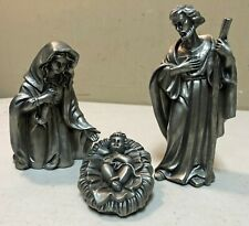 Towle Silversmiths 3 Piece Pewter Nativity Figures Mary, Joseph & Baby Jesus