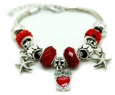 Red Murano Glass Bracelet Owl Crystal Brass Charm Bangle Star Bead Ladies