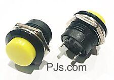 SPST Yellow Round Momentary Push Button Switch 3A 125V 1.5A 250VAC x 1pcs