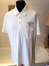 "Replay ~ fine cotton summer weight white polo type s/sleeve shirt ~ XXL  44""-46"""