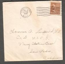 1942 WWII 1 1/2 cent prexie cover Jamestown ND to Navy Station Base San Pedro