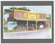 """Natural Arts Surf Shop Haleiwa 1986 Giclee F/Hand Colored B&W Foto On 8X10"""" Mat"""