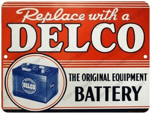 """DELCO Battery Advertising New Reproduction Vintage Look 9"""" x 12"""" Aluminum Sign"""