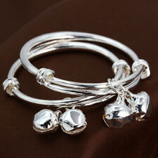 925 Silver Filled Bells Bangle Bracelet Cuff Exquisite Jewelry Xmas Gift For Kid