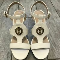 New Without Box Tommy Hilfiger Size 7.5 White and Gold Wedge Logo Sandals