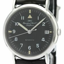 Polished IWC Portofino Steel Leather Automatic Mens Watch 3513-026 BF339632