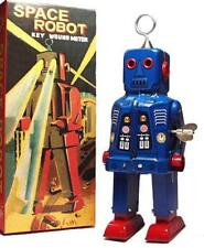 SPARKY ROBOT SPACE TOY MECHANICAL WINDUP TIN TOY BLUE