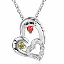 Personalized Sterling Silver 2 Stones 2 Name Heart Mothers or Promise Necklace