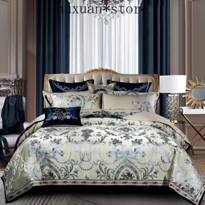 Blue Color Europe Luxury Royal Bedding Sets Queen King Size Satin Jacquard Cover