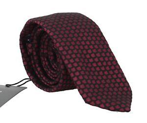NEW DOLCE & GABBANA Tie Black Silk Bordeaux Pattern Classic Necktie