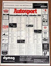 Autosport 1981 INTERNATIONAL RACING CALENDAR -F1 F3 WCM Touring Cars FF1600 Indy