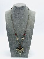 Vintage Art Deco Metalwork Necklace Pendant Filligree Boheiman Boho Gemstone