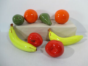 Fruit Ceramic Pear Orange Apple Banana Life Size Vintage Kitchen Faux Decor 8pcs