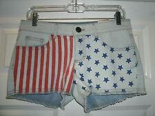 NO BOUNDARIES US Flag Stars Stripes Patriotic Blue Denim Shorts Sizes 11 15 NWT