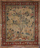 Pre-1900 Antique Collectible Animal Pictorial Tebriz Haj Jalili Square Rug 2'x2'