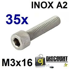 35x Vis CHC (BTR) - M3x16 - INOX A2 - DIN 912 - 6 pans creux