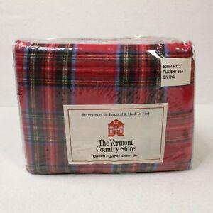 Vermont Country Store Red Plaid Cotton Flannel Queen Set Portuguese Cotton NIP
