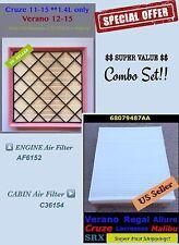 For Chevy Cruze 2011-2015 1.4L Combo set Engine & Cabin Air filter AF6152 C36154