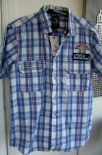 BENZINI BLUE CHECKED  SHIRT.  L / CHEST: 40 - 42ins BRAND NEW WITH TAGS