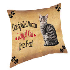 Bengal Silver Spoiled Rotten Cat Throw Pillow 14x14
