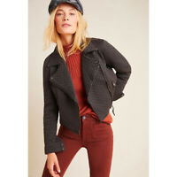 Anthropologie Marrakech Dark Gray Black Quilted Moto Jacket NWT Size Small