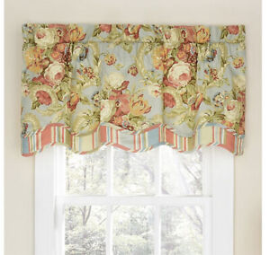 "NWT Waverly Spring Bling 52"" Curtain Valance Coral Pink Roses & Stripes Cottage"