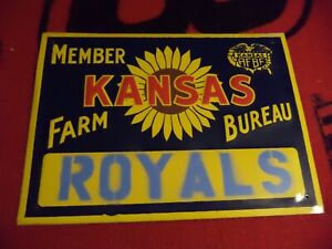 VINTAGE 1950's KANSAS FARM BUREAU MEMBER EMBOSSED SIGN KANSAS CITY ROYALS