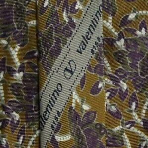 Skinny Brown Purple Silk Floral VALENTINO Tie