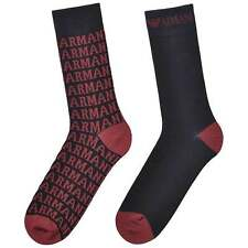 Emporio Armani Men's 2 Pack All Over Logo Socks, Dark Blue with Red, One Size