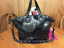 Coach Madison Claire Inlaid OP Art Black Leather, Suede and Patent Handbag 14311