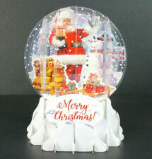 Santa and Snowman Christmas Greeting Card Snow Globe Pop Up Holiday Card