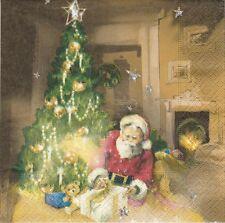 2 Serviettes en papier Père Noël Sapin Paper Napkins Christmas Santa's Night