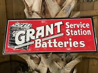 VINTAGE GRANT BATTERIES EMBOSSED METAL SIGN STAMPED PORCELAIN SERVICE STATION