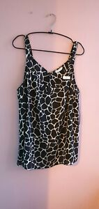 New Black Cow Print Camisole Top Size 18 By Papaya